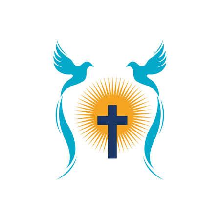 church christian line art logo design,Christian symbols. Reklamní fotografie - 157181199