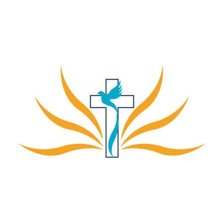 church christian line art logo design,Christian symbols.