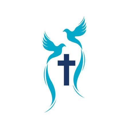 church christian line art logo design,Christian symbols. Reklamní fotografie - 157181215
