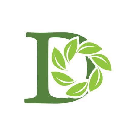 Green eco letters D logo with leaves. /symbol / alphabet / botanical / natural Ilustrace
