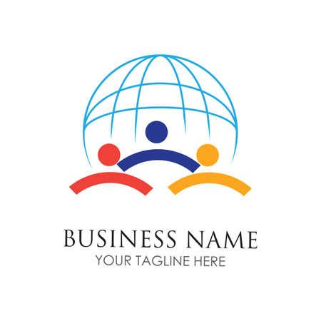 World Community people Logo illustration design template 向量圖像