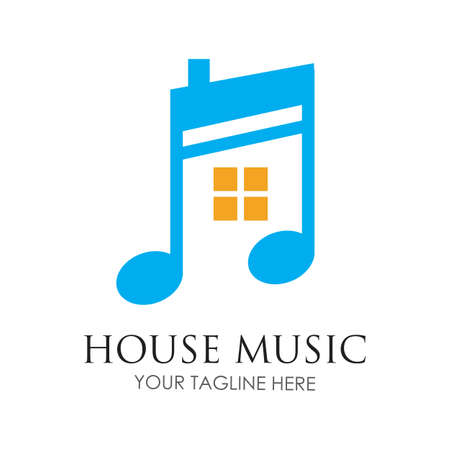 House music logo images illustration design template