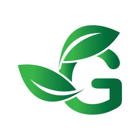 green eco leaf letter G logo illustration design template Reklamní fotografie - 158628322