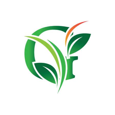 green eco leaf letter G logo illustration design template Reklamní fotografie - 158628323