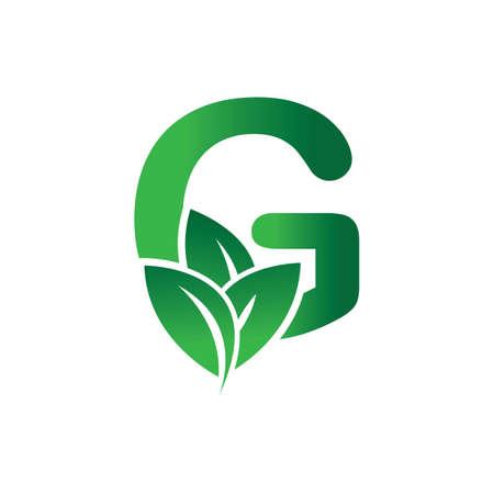 green eco leaf letter G logo illustration design template Reklamní fotografie - 158628324