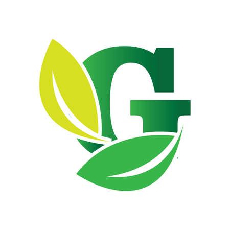 green eco leaf letter G logo illustration design template Reklamní fotografie - 158628328