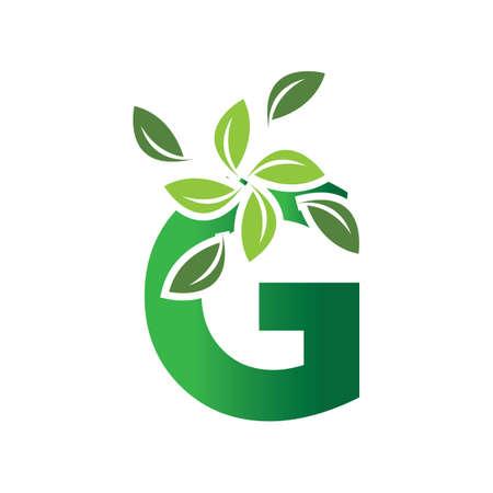 green eco leaf letter G logo illustration design template Reklamní fotografie - 158628329