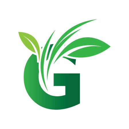 green eco leaf letter G logo illustration design template
