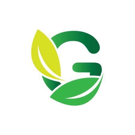 green eco leaf letter G logo illustration design template Logó