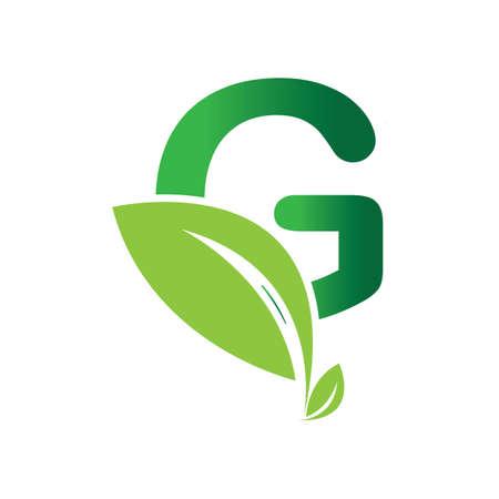 green eco leaf letter G logo illustration design template Reklamní fotografie - 158628387