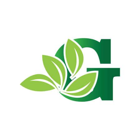 green eco leaf letter G logo illustration design template Reklamní fotografie - 158628402