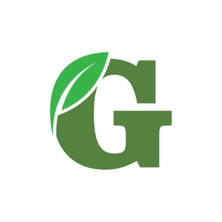green eco leaf letter G logo illustration design template Reklamní fotografie - 158628404