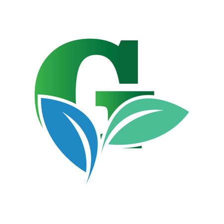 green eco leaf letter G logo illustration design template Reklamní fotografie - 158628406