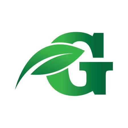 green eco leaf letter G logo illustration design template Reklamní fotografie - 158451703