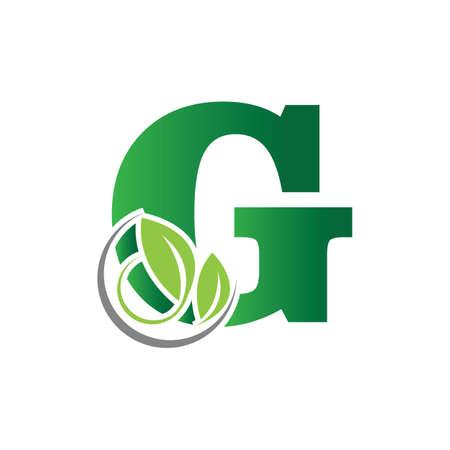 green eco leaf letter G logo illustration design template Reklamní fotografie - 158451705