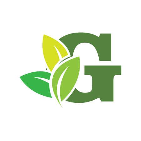 green eco leaf letter G logo illustration design template Reklamní fotografie - 158451706