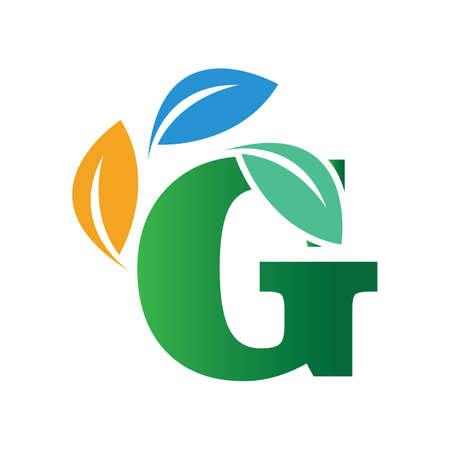 green eco leaf letter G logo illustration design template Reklamní fotografie - 158451708