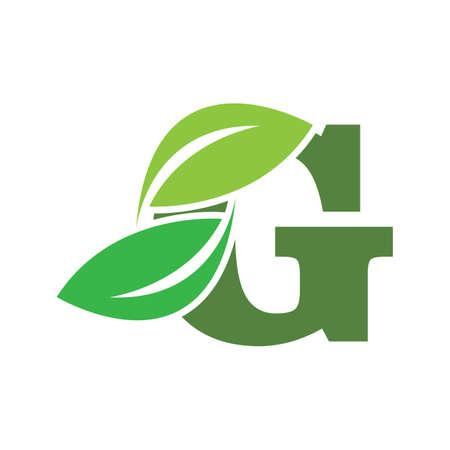 green eco leaf letter G logo illustration design template Ilustrace