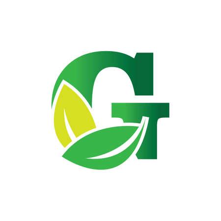 green eco leaf letter G logo illustration design template Reklamní fotografie - 158451712