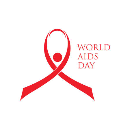 Red ribbon AIDS, HIV icon illustration,world AIDS day,AIDS awareness vector illustration Reklamní fotografie - 158701695