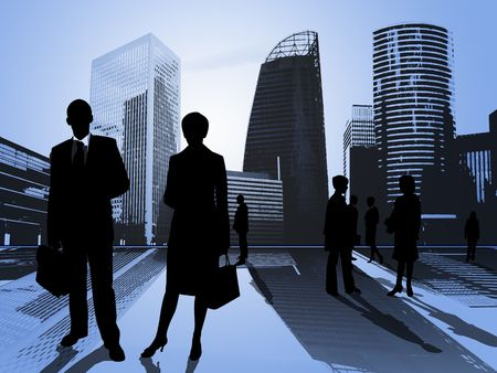 business people in the city - business center photo