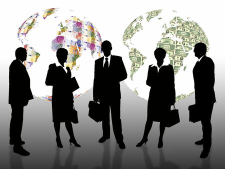 investors: business people with eurodolar earth globe