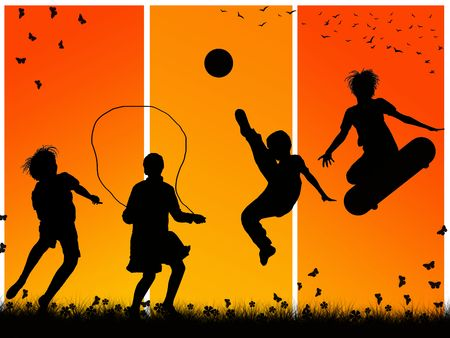 skipping: silhouettes of children playing sports