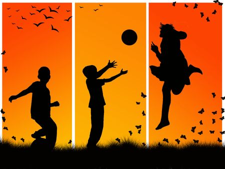 silhouettes of children playing sports photo