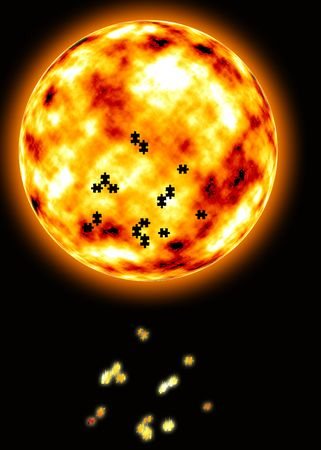 orbital: fire star in the universe Stock Photo