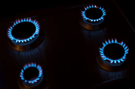 gas stove: gas stove with blue fire Stock Photo