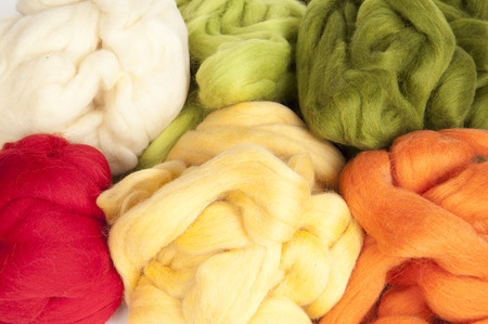 slivers: Felting activity - colorful wool slivers closeup Stock Photo