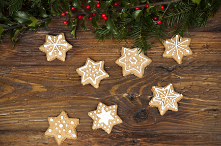 gingerbread cookies: christmas background with gingerbread cookies
