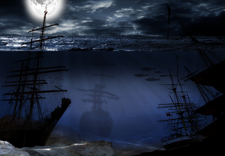 old ship: underwater world with old ship