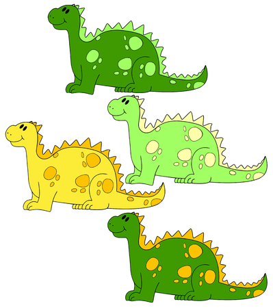 fish form: four different colors dragons or dinosaurs Stock Photo