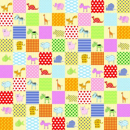 leon: patchwork with animal: cat, giraffe, elephant, zebram hippopotamus, pig, cow, horse, sheep, fish, leon and dinosaur.