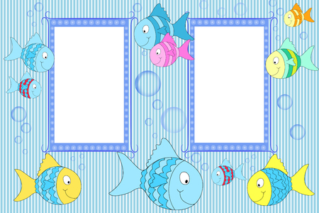 fish form: Kid scrapbook with fish and bubbles - Photo  frames for children Stock Photo