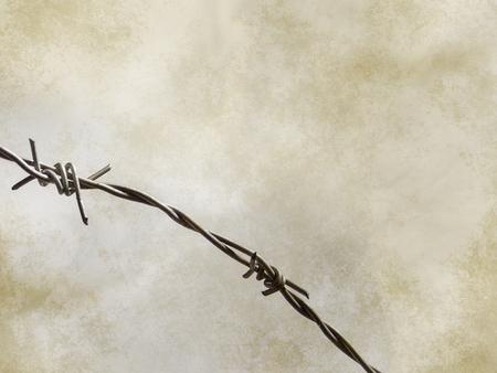 prisoner of war: barbed wire on old paper
