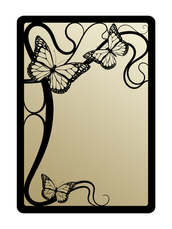 clip art draw: art nouveau frame with butterflies