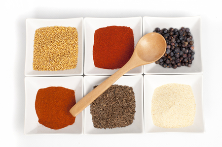 safran: various spices on white background Stock Photo