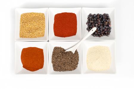 safran: various spices on white background Stock Photo