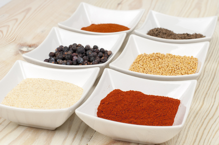 safran: various spices on wooden table