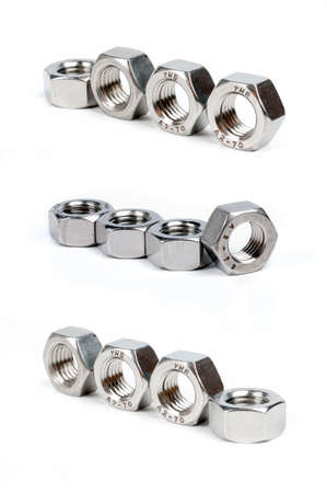 large group of object: screw  nut isolated on the white backgrounds