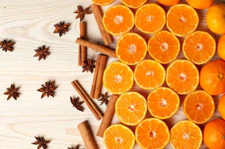 mandarine: fruits (orange, mandarine), cinnamon and anise Stock Photo