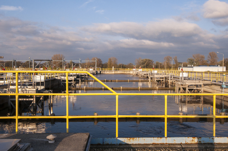 water treatment plant: Waste water treatment plant Stock Photo