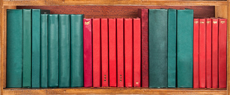 books library: books on the shelf - red and green