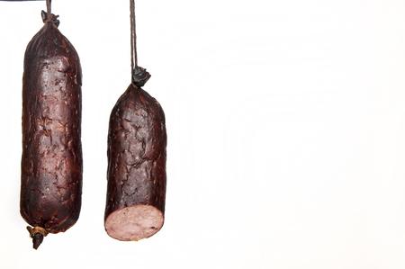 whitw: kind of sausage - whitw background Stock Photo