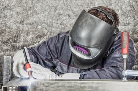 Metal Inert Gas  Metal Active Gas - MIG, MAG welding Stock Photo