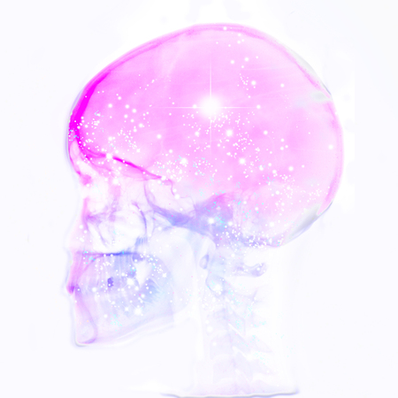 rtg of human skull with galaxy Stock Photo