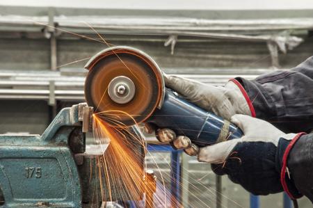 in a metal workshop - grinding Stock Photo