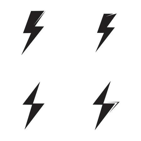 Thunder and Bolt Lighting Flash Icons Set. Flat Style on Dark Background. Vector - Vector Vector Illustratie